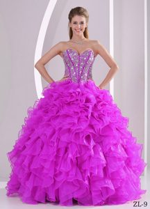 Sweetheart Beaded Low Price Fuchsia Quinceanera Dress with Ruffles