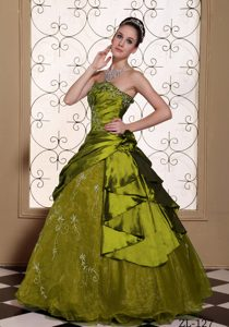Strapless Quinceanera Gown with Embroidery in Olive Green on Sale