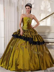 Strapless Ball Gown Taffeta Low Price Sweet 16 Dresses with Beading
