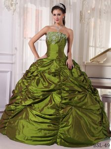 Low Price Strapless Taffeta Quince Dress with Embroidery in Olive Green