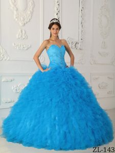 Elegant Beaded Satin and Organza Quinceanera Dresses in Aqua Blue