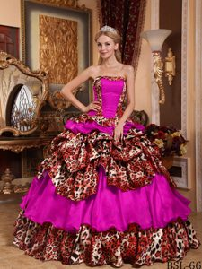 Fuchsia Ball Gown Dress for Quinceanera with Ruffled Layers and Leopard 2013