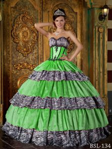 Luxurious Sweetheart Quinceanera Gown Dresses with Layers and Zebra on Sale