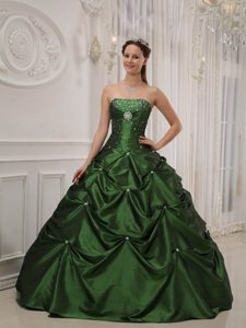 Strapless Beading Taffeta Quinceanera Gown Dress with Pick-ups in Olive Green