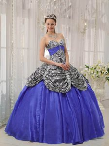 New Sweetheart Purple Sweet Sixteen Quinceanera Dress with Ruffles and Zebra