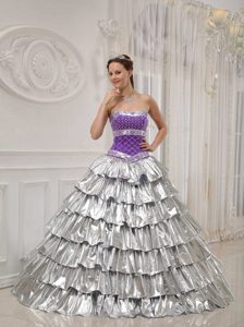 Princess Strapless Quinceanera Gown with Ruffled Layers in Purple and White