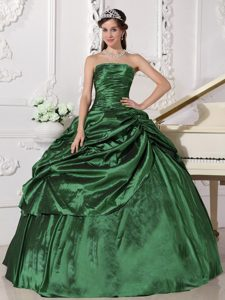 Hunter Green Strapless Beading Quinceanera Dress with Ruches in Taffeta on Sale
