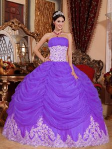 Purple Ball Gown Strapless Sweet 16 Dresses with Ruches and White Embroidery
