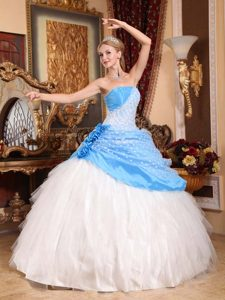 Strapless Beading Quince Gown with Handmade Flowers in Aqua blue and White