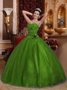 Ruffled and Beaded Quinceanera Dresses with Handmade Flower in Olive Green