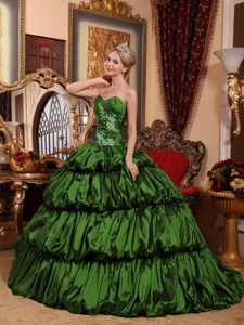 Dark Green Appliqued Dresses for Quince with Heart Shaped Neckline in Taffeta