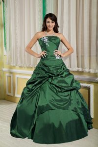 Princess Strapless Green Quinceanera Gown with White Appliques and Pick-ups