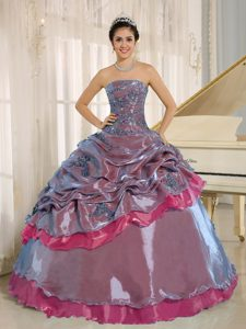 Multi-colored Appliqued Strapless Dress for Quince with Pick-ups and Beadings