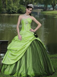 Beaded Spring Green Dress for Quinceanera with Appliques in Taffeta and Tulle