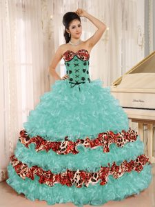 Pretty Apple Green Sweet Sixteen Quinceanera Dresses with Ruffles and Leopard
