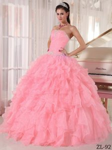 2013 Beautiful Pink Organza Beaded Quinceanera Dress with Ruffled Layers