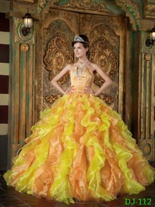 Affordable Ball Gown Strapless Quinceanera Dress with Ruffles