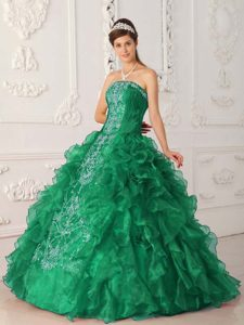 Green Strapless Embroidery Quince Dresses in Satin and Organza