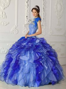 Royal Blue Satin and Organza Quinces Dresses for Wholesale Price