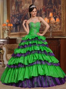 Custom Made Taffeta and Organza Quinceanera Dresses in Green