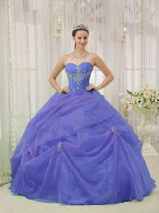 Sweetheart Pretty Organza Sweet Sixteen Quince Dress in Purple