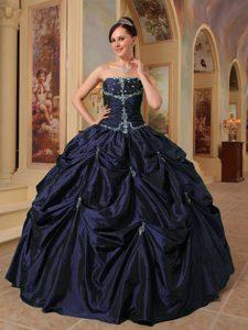 Strapless Beautiful Beaded Taffeta Sweet 16 Dress in Dark Purple