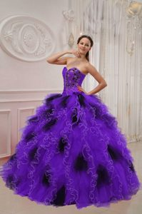 Ruffled Organza Dress for Quince in Purple and Black on Promotion