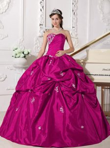 Elegant Sweetheart Taffeta Quinceanera Gown Dress with Beading