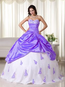 Affordable Purple and White Ball Gown Sweetheart Quince Dresses