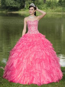 Hot Pink Sweetheart Beaded Quinceanera Dresses with Ruffled Layers