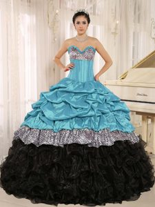 Aqua and Black Sweetheart Layered Quinceanera Dress with Pick-ups and Leopard