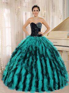 Beaded Sweetheart Black and Turquoise Organza Quinceanera Dresses with Ruffles