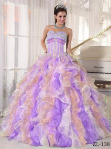 Multi-color Sweetheart Organza Dresses for Quinceanera with Appliques