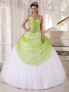 Yellow Green and White Quince Dresses with Appliques in Tulle and Sequin