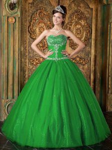 Princess Sweetheart Tulle Sweet Sixteen Dresses with Beading in Green