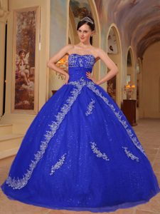 Beautiful Organza Embroidery and Beaded Sweet 15 Dresses in Dark Blue