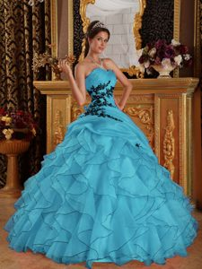 Aqua Blue Sweet Sixteen Quinceanera Dresses with Appliques in Organza