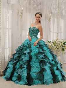 Beautiful Multi-colored Sweetheart Organza Quinces Dresses with Beading