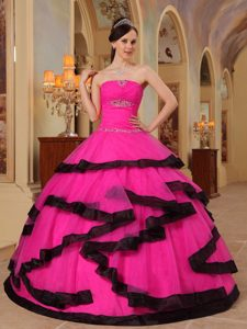 Hot Pink Strapless Organza Dresses for Quince with Appliques and Beading