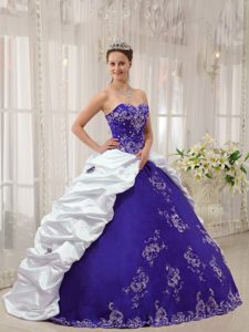 Purple and White Sweetheart Satin and Taffeta Embroidery Sweet 15 Dresses