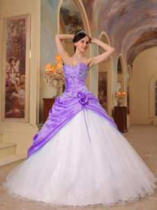 Lavender and White A-line Quince Dresses with Beading in Tulle and Taffeta