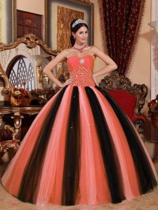 Multicolor Ball Gown Sweetheart Tulle Beaded Quinceanera Dress for Cheap