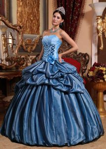 Blue Strapless Taffeta Quinceanera Dresses with Hand Made Flowers on Sale