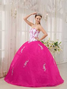 White and Hot Pink Taffeta and Organza Appliqued Quinceanera Dress on Sale