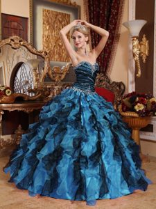 2014 Multicolor Sweetheart Organza Beaded and Ruffled Quinceanera Dress