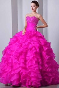Hot Pink Sweetheart Organza Quinceanea Dresses with Beading and Ruffles