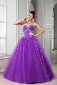 2013 Purple Sweetheart Tulle Beaded Quinceanera Dress on Wholesale Price