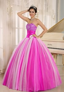 Pretty Multicolor New Arrival Strapless Tulle Lace-up Back Quincanera Dress