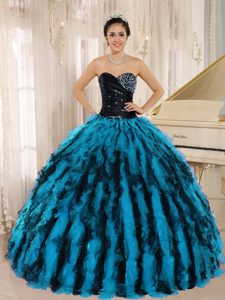 Beaded and Ruffled Sweetheart Multicolor Quinceanera Dress on Promotion