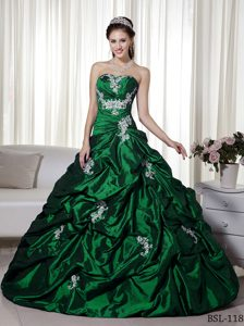 Dark Green A-line Strapless Taffeta Quinceanera Gown Dress with Appliques